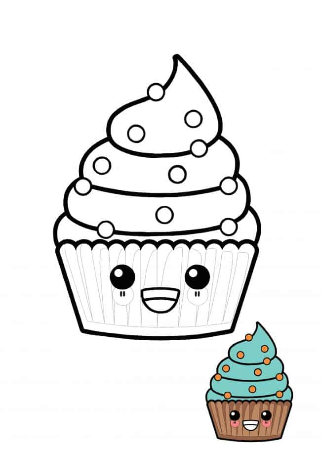 Cute Kawaii Cupcake coloring page