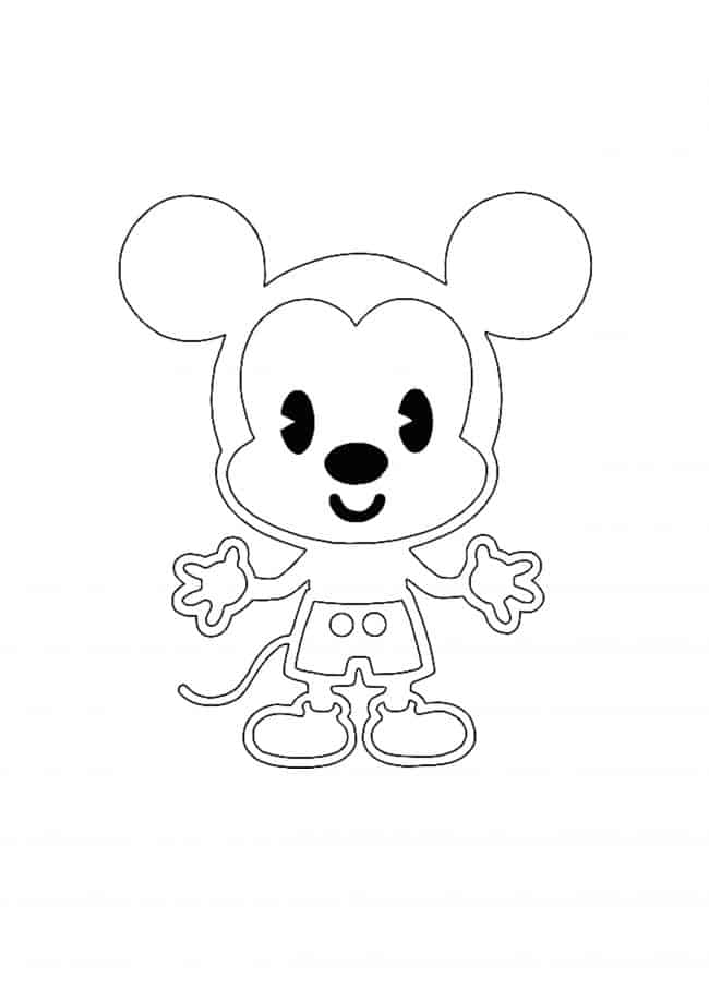 Kawaii Disney Mickey Mouse coloring sheet