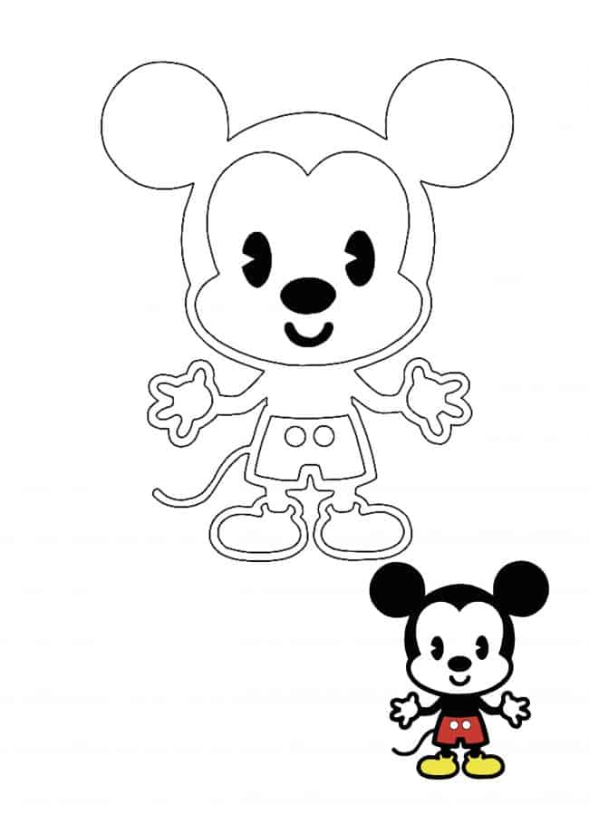 Kawaii Disney Mickey Mouse coloring page