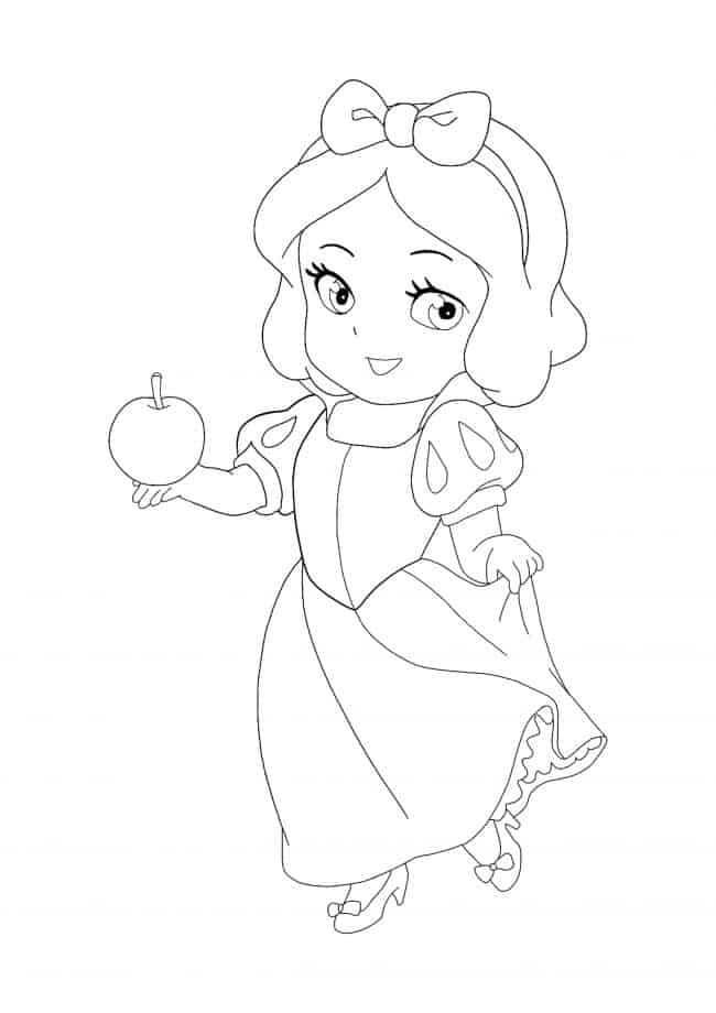 Coloriage Kawaii Disney Princesse Blanche Neige