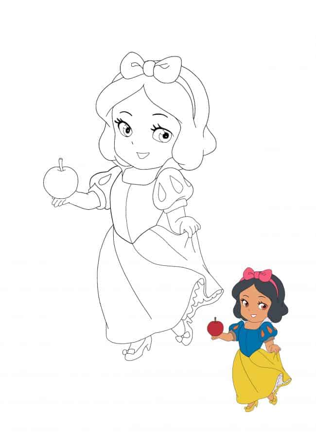Kawaii Disney Princess Snow White coloring page with preview