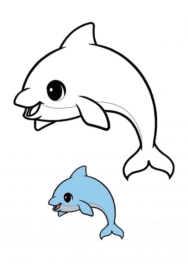 Kawaii Dolphin easy coloring page