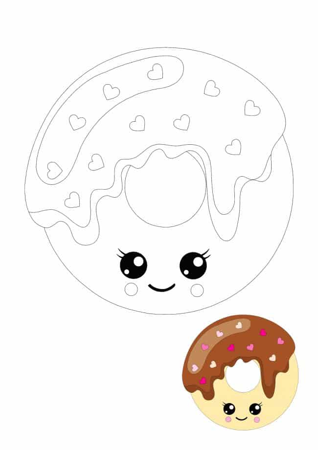 Kawaii Donut coloring page for kids