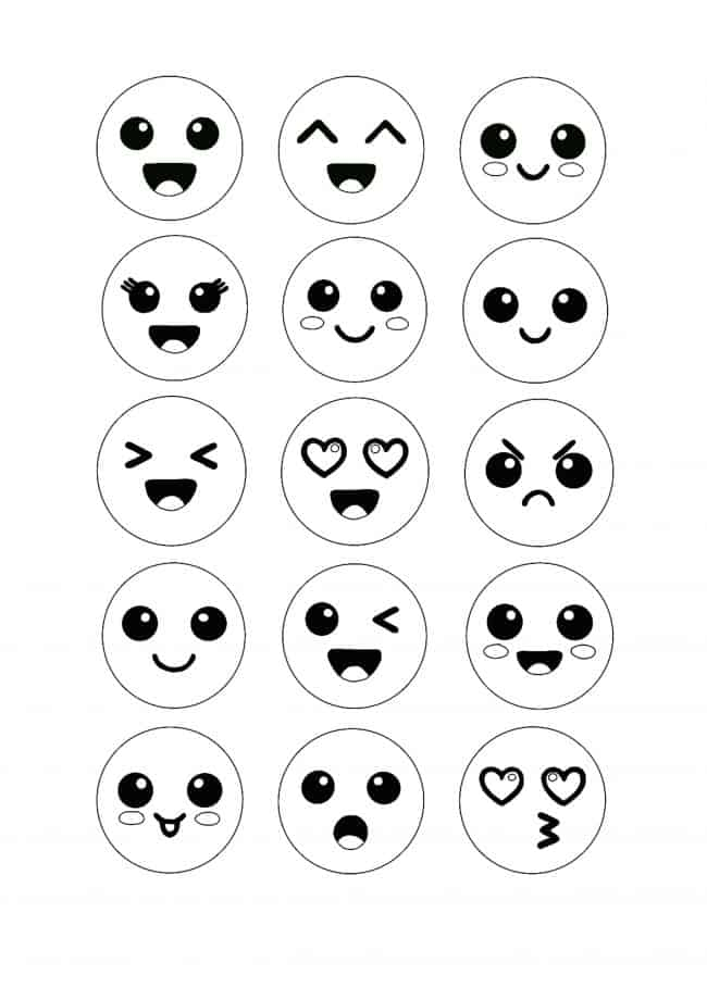 Kawaii Emoji coloring page