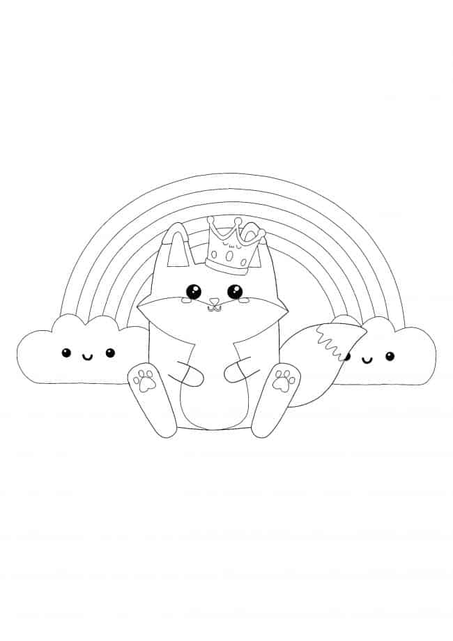 Kawaii Fox and Rainbow coloring page
