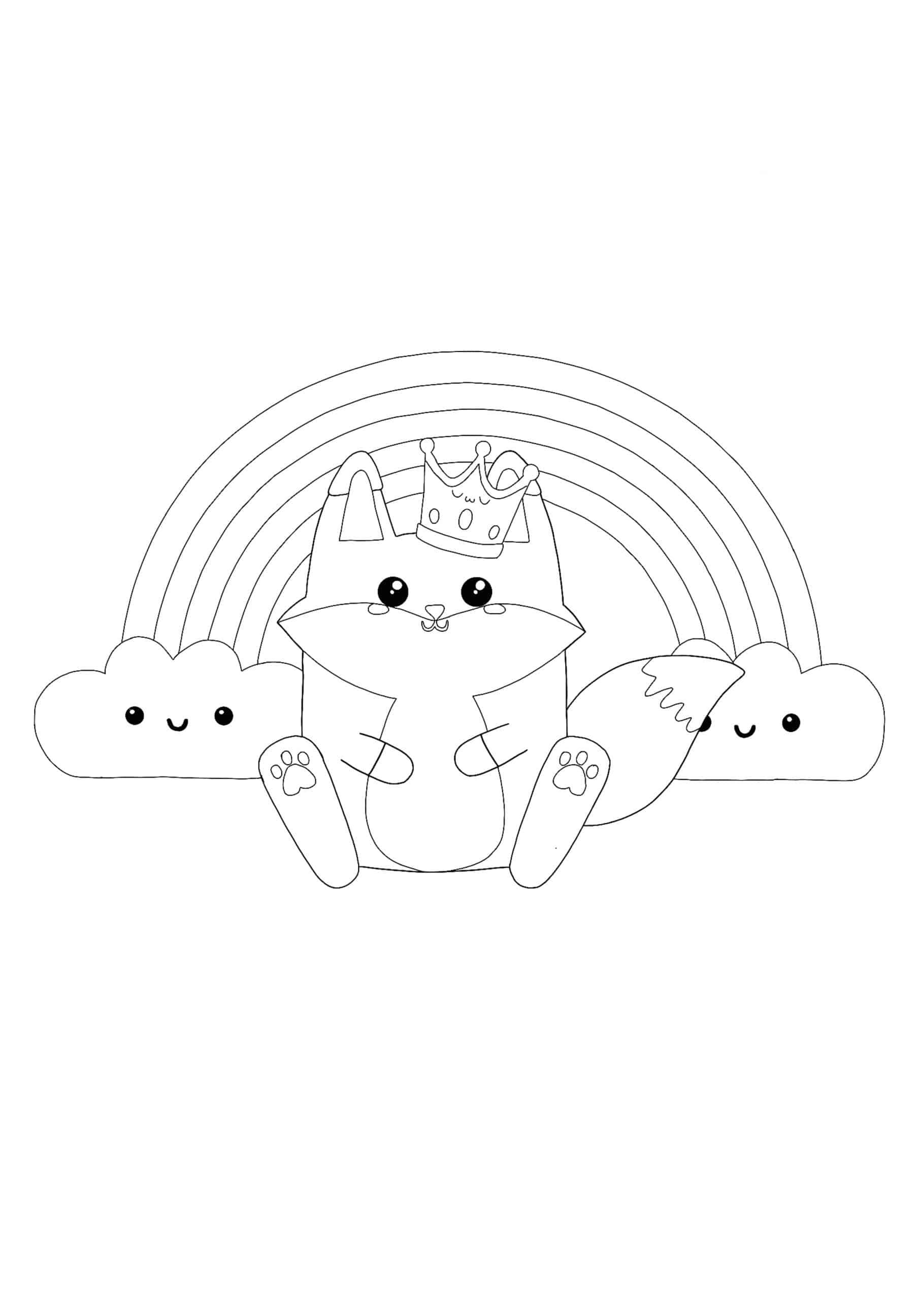 Kawaii Fox and Rainbow coloring page