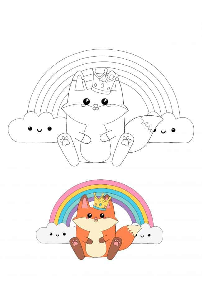 Kawaii Fox and Rainbow coloring sheet