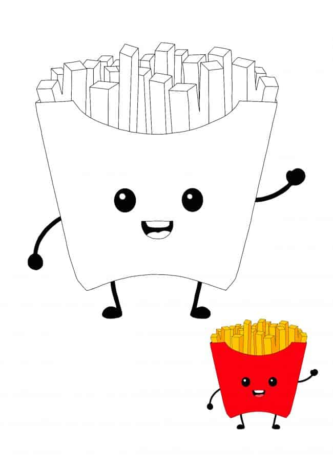 Cute Kawaii French Fries coloring page