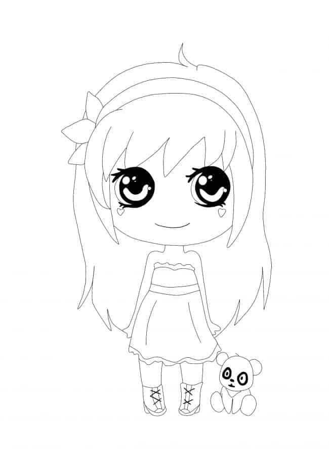 Kawaii Girl with Panda coloring page