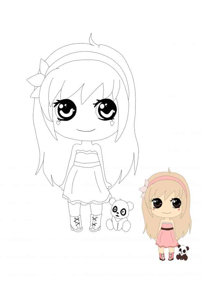 Kawaii Girl with Panda coloring sheet