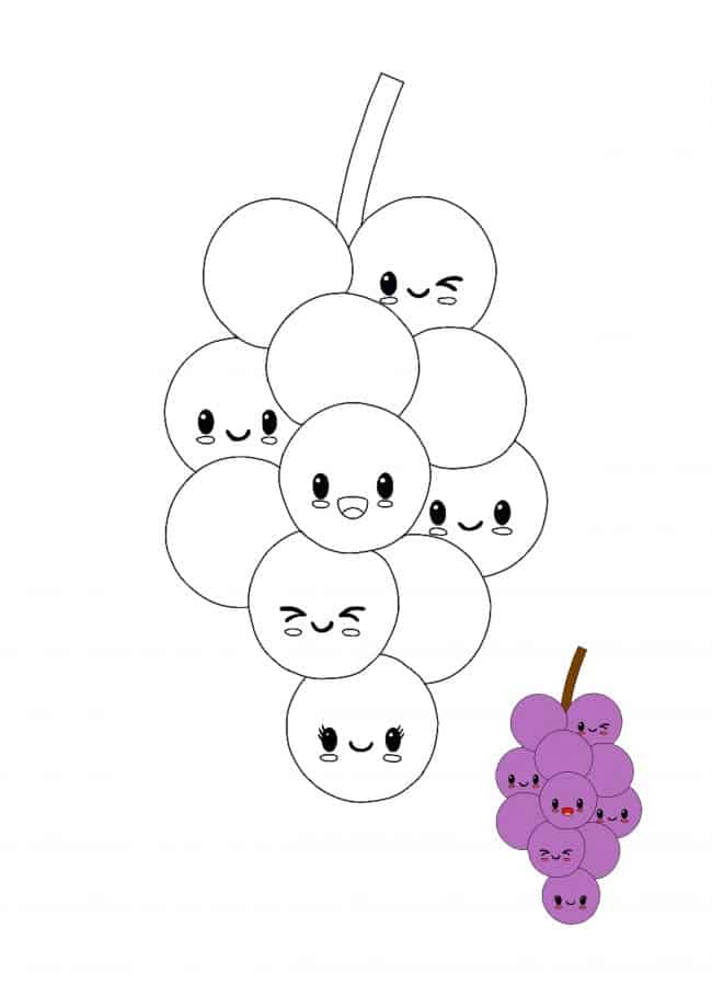 Kawaii Grapes coloring sheet