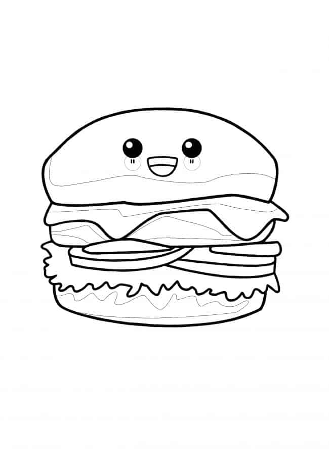 Kawaii Hamburger coloring page