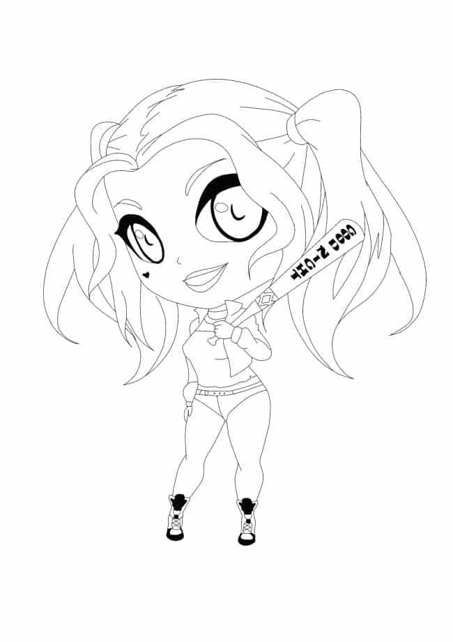 Coloriage Harley Quinn Kawaii