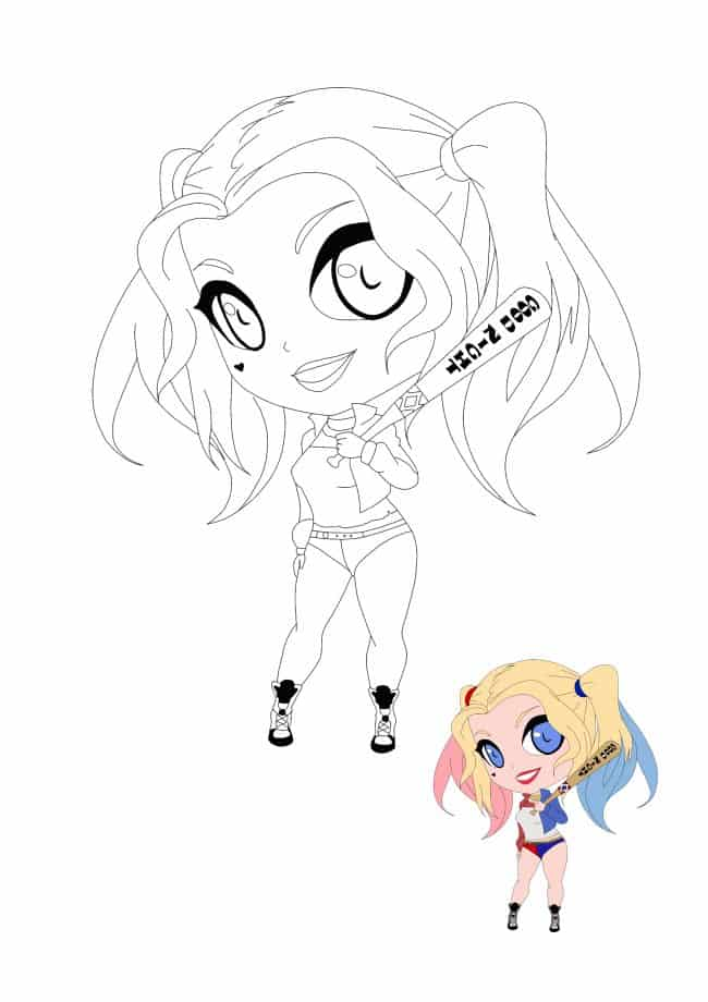 Kawaii Harley Quinn coloring page with sample