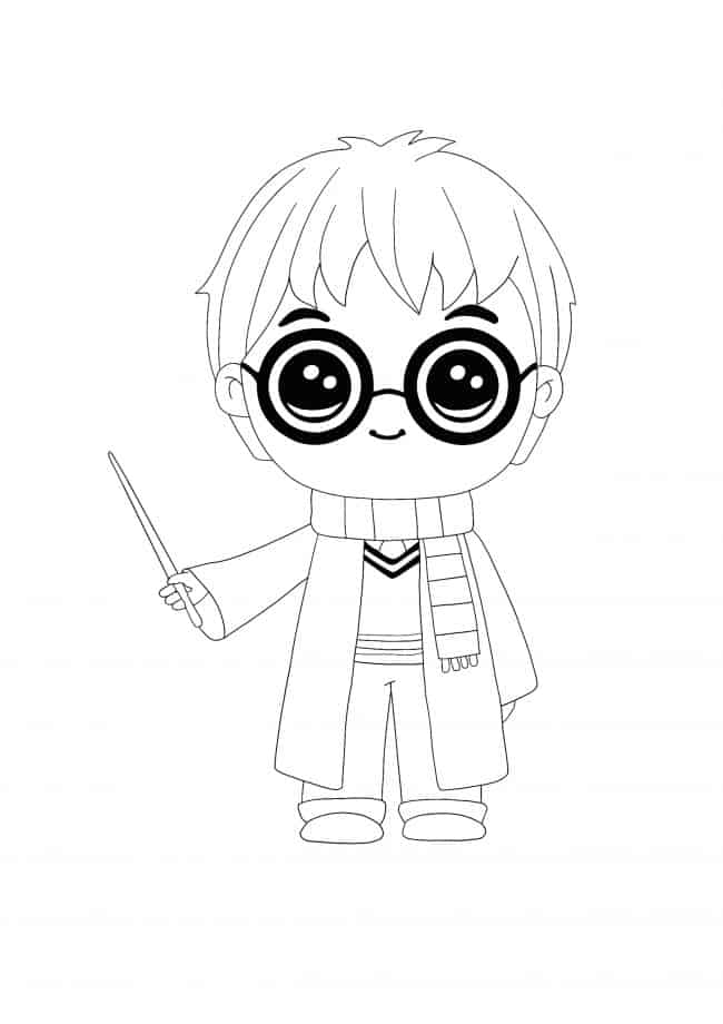 Kawaii Harry Potter coloring page
