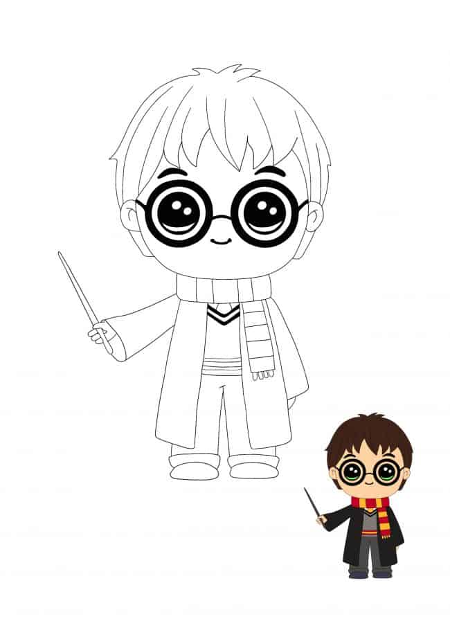 Kawaii Harry Potter coloring sheet