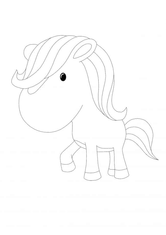 Kawaii Horse coloring page