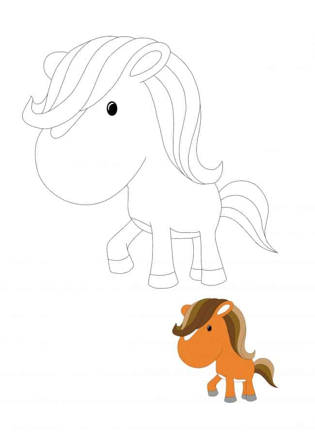 Coloriage Cheval Kawaii