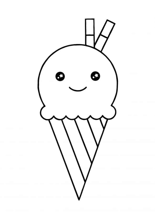 Kawaii Ice Cream coloring page