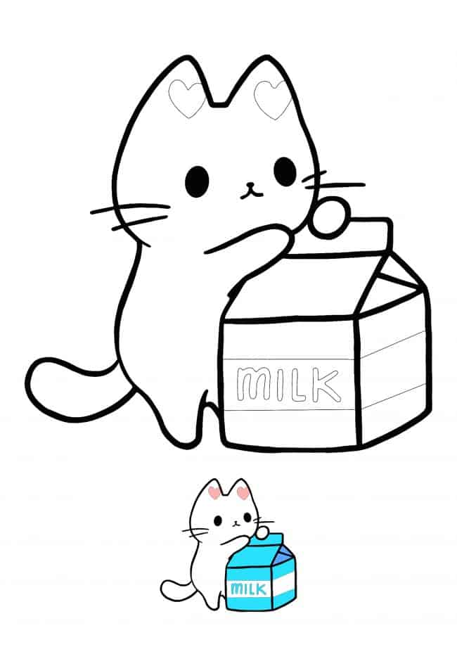 Kawaii Kitten with milk packet coloring page
