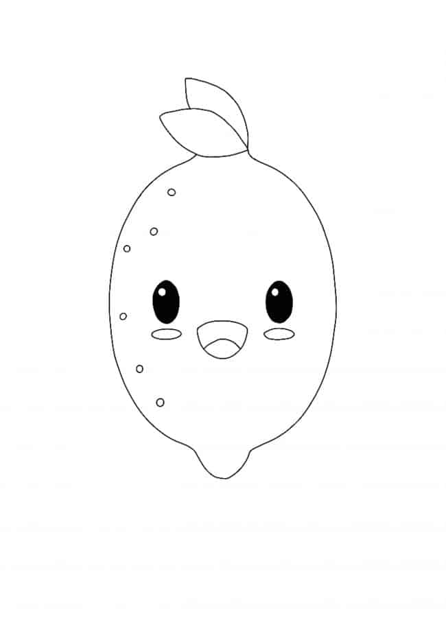 Kawaii Lemon coloring page