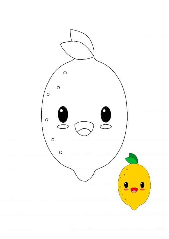 Kawaii Lemon coloring page with sample