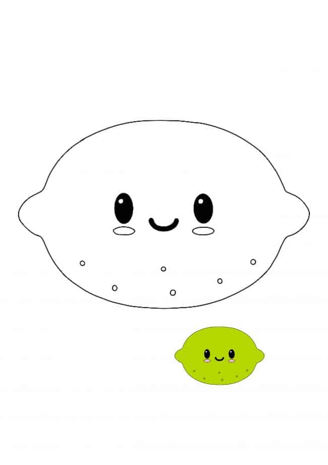 Kawaii Lime easy coloring page