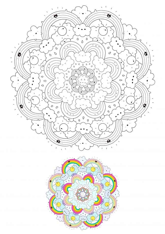 Hard Kawaii Mandala coloring page