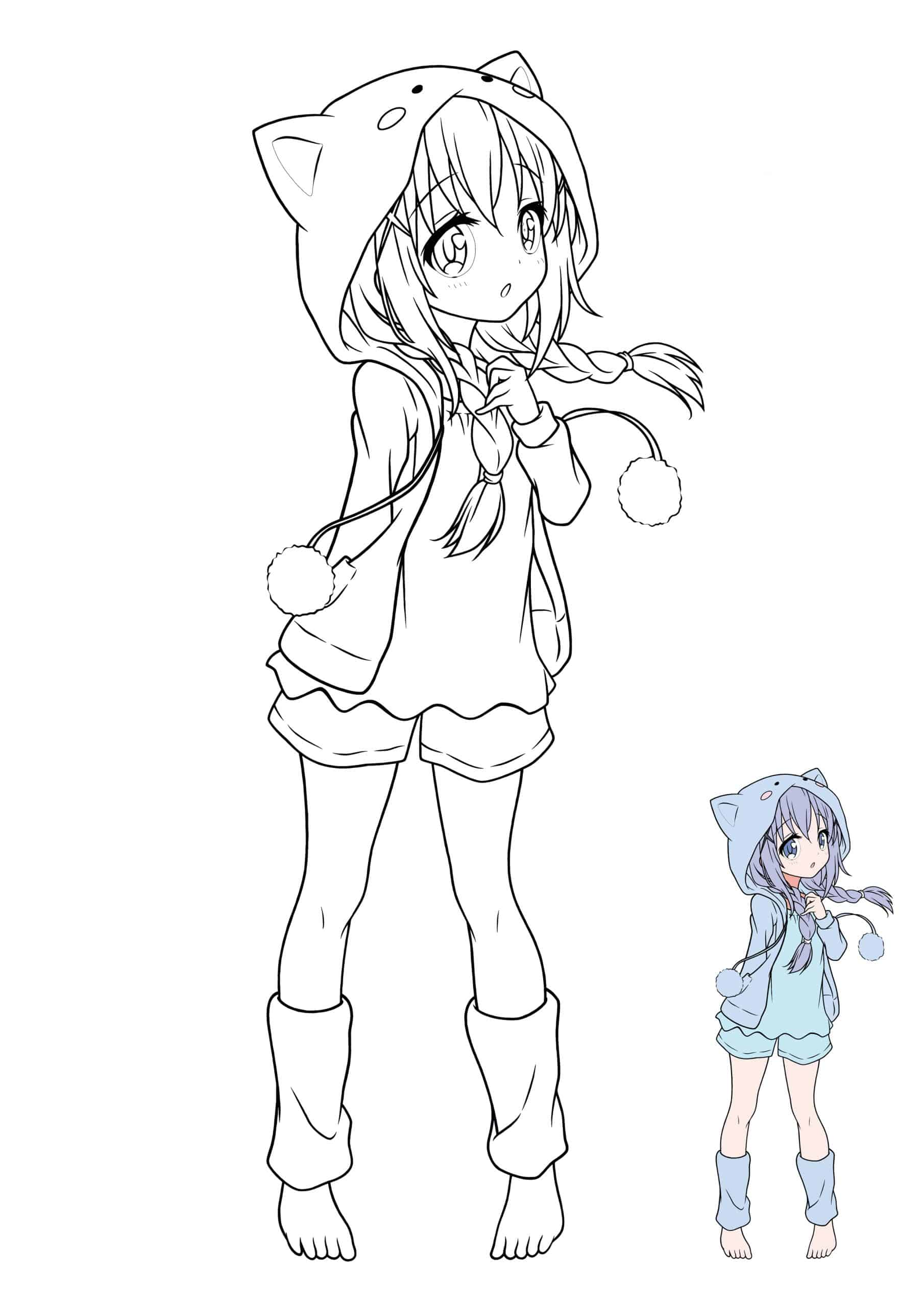Coloriage Manga Fille Kawaii