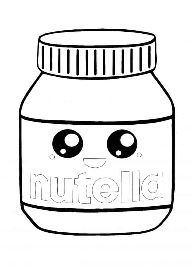 Kawaii Nutella coloring page