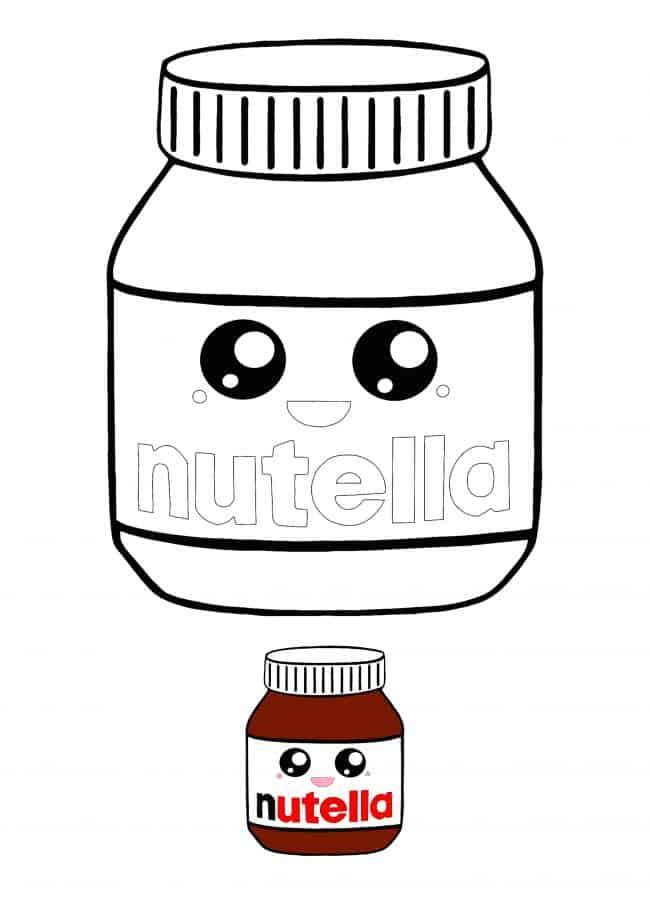 Kawaii Nutella coloring page with sample