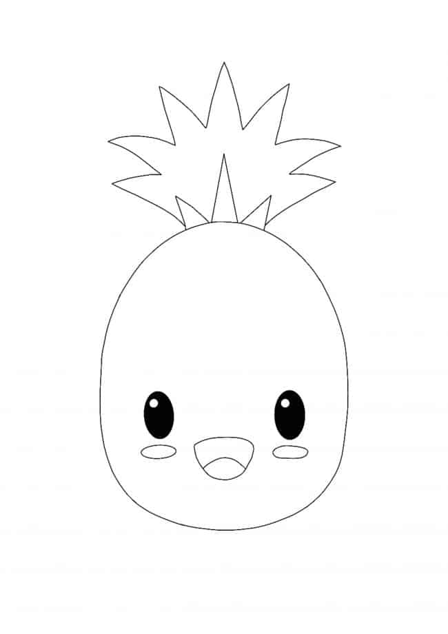 Easy Kawaii Pineapple coloring page
