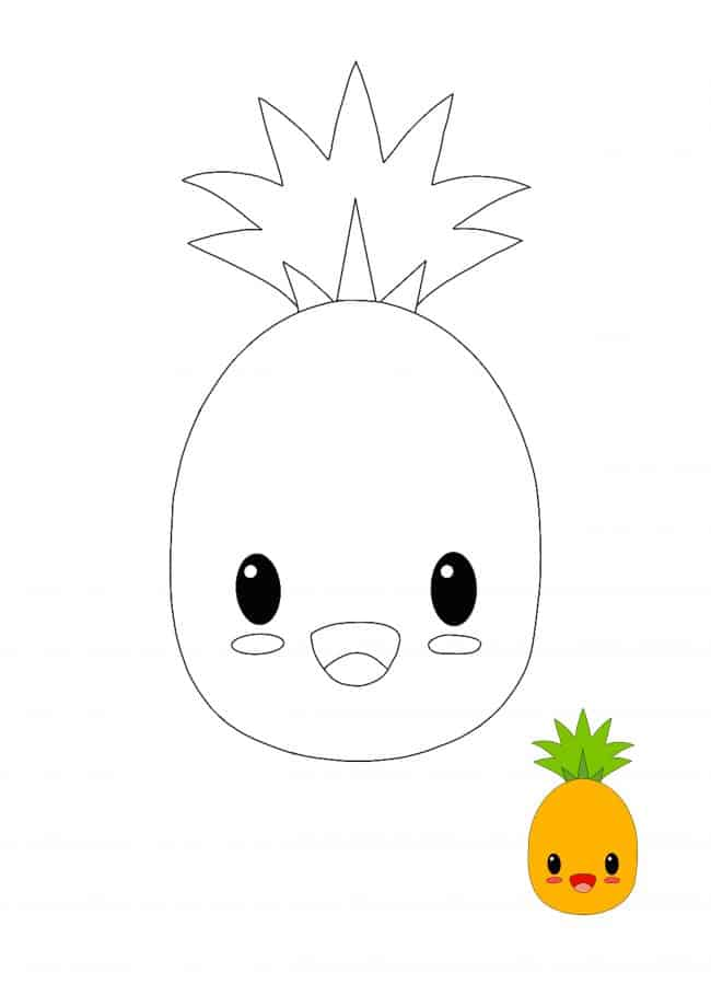 Kawaii Pineapple coloring page for kids