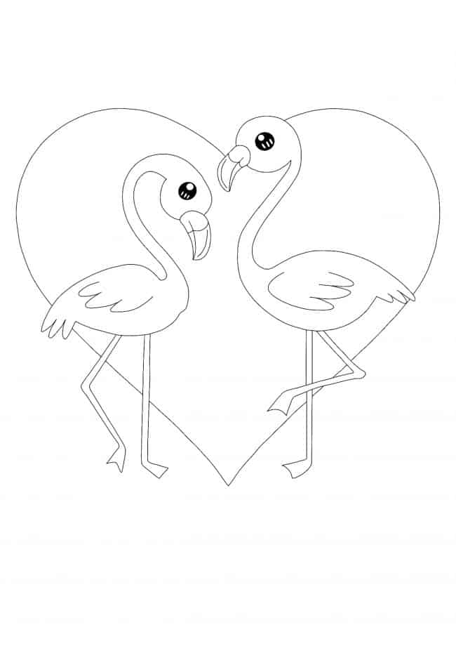 Kawaii Pink Flamingo coloring page