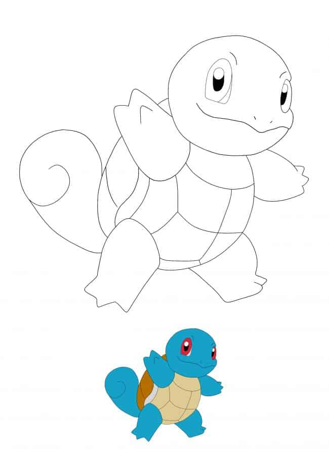 Kawaii Pokemon Squirtle coloring page with sample
