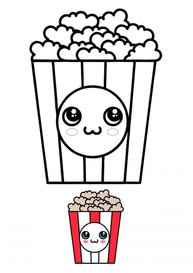 Kawaii Popcorn coloring sheet