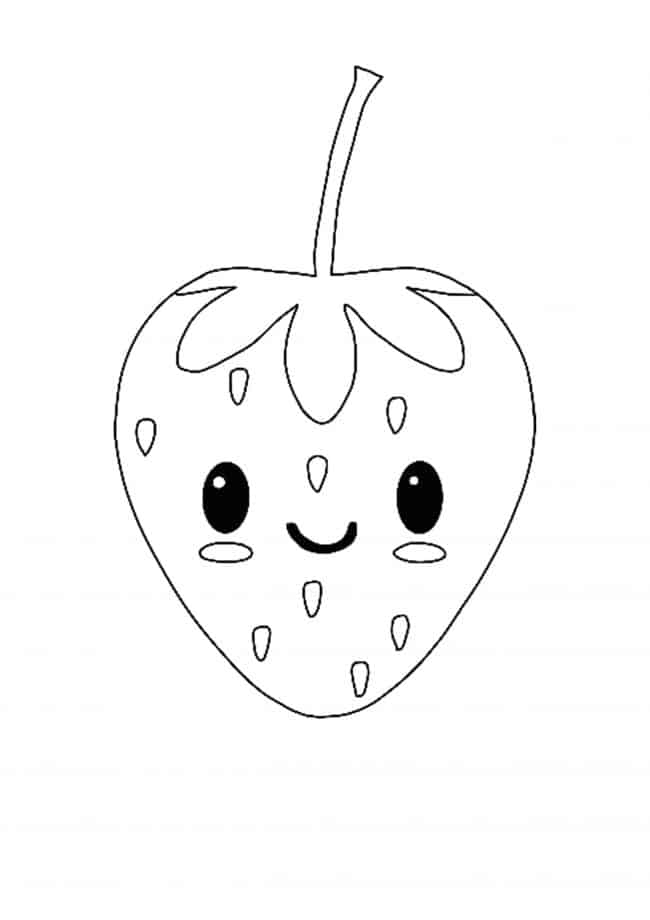 Kawaii Strawberry coloring page