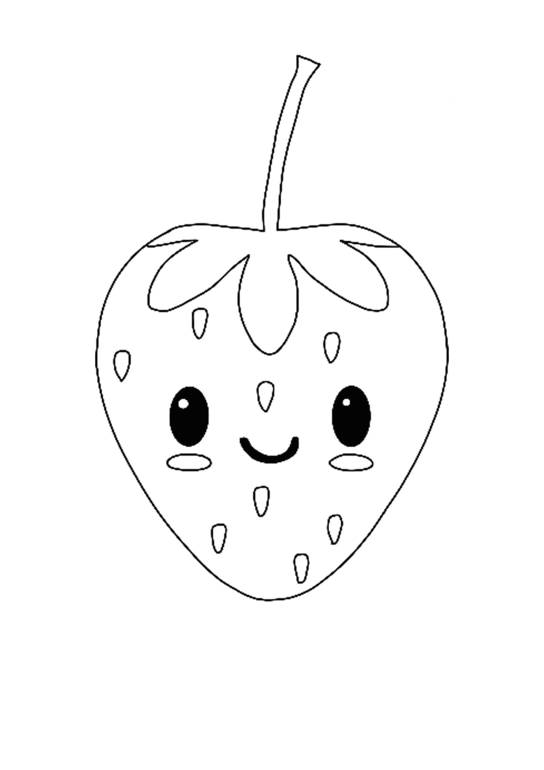 Kawaii Strawberry coloring page