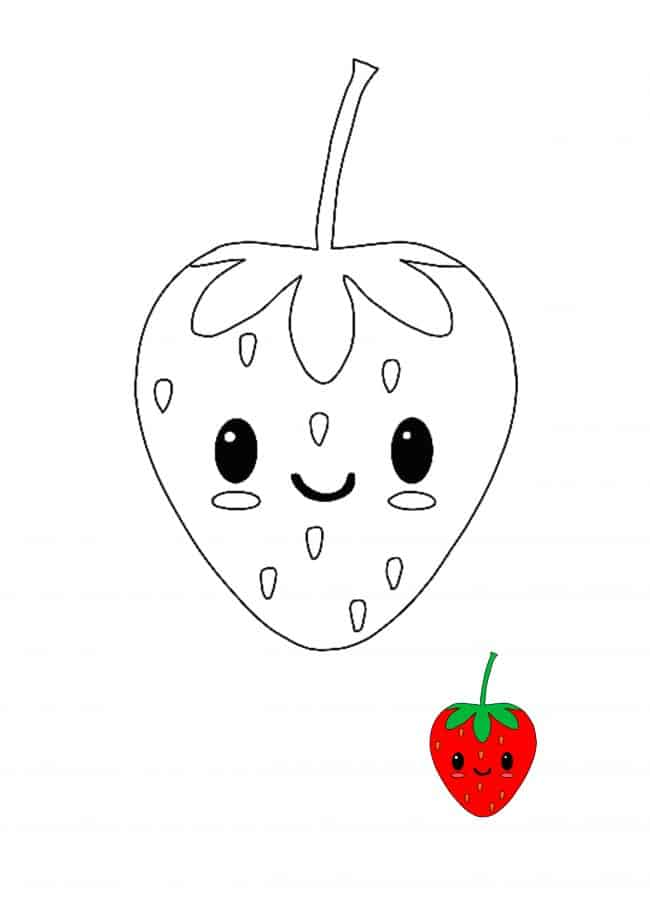Kawaii Strawberry easy coloring page with sample