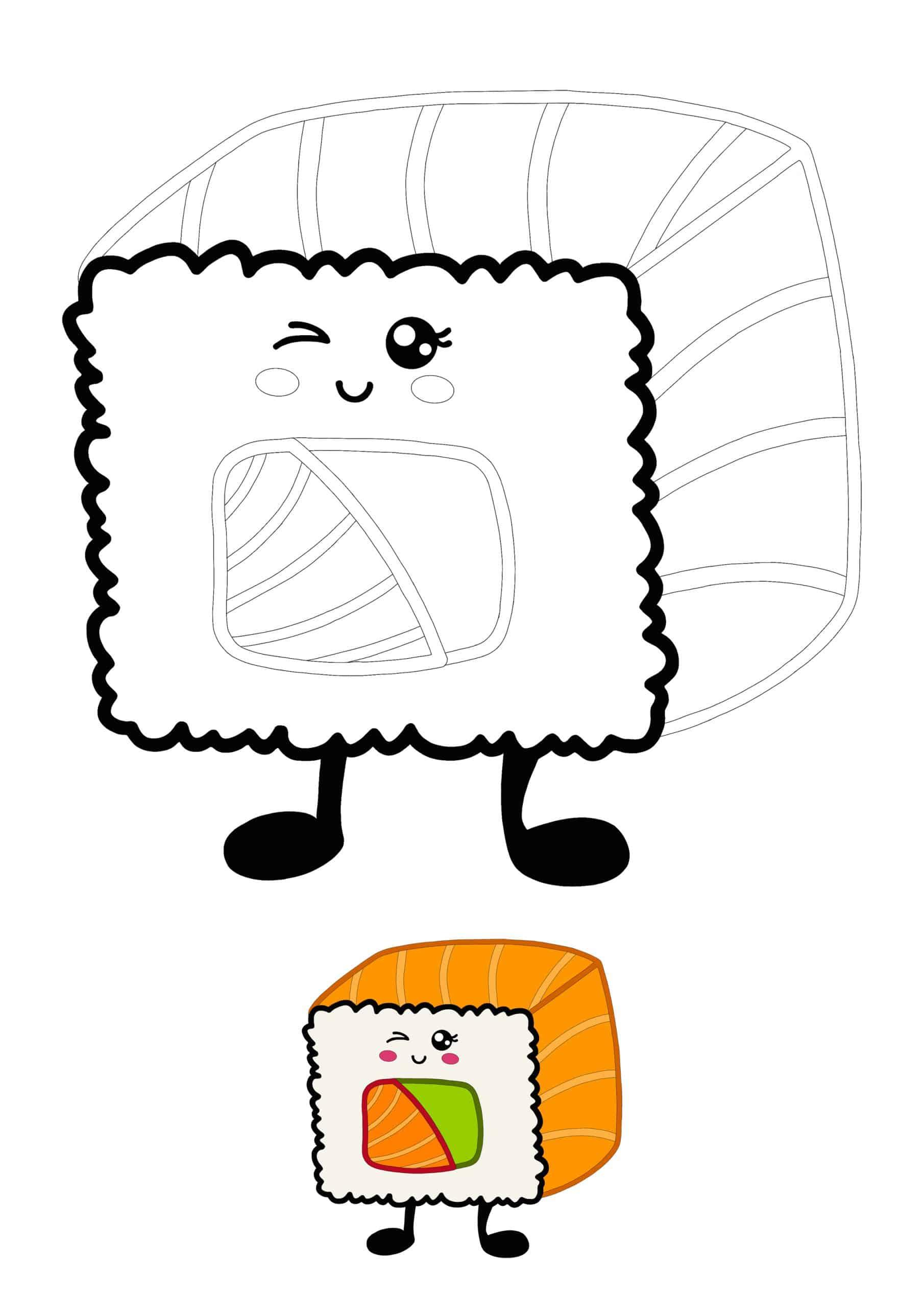 Cute Kawaii Sushi Roll coloring page