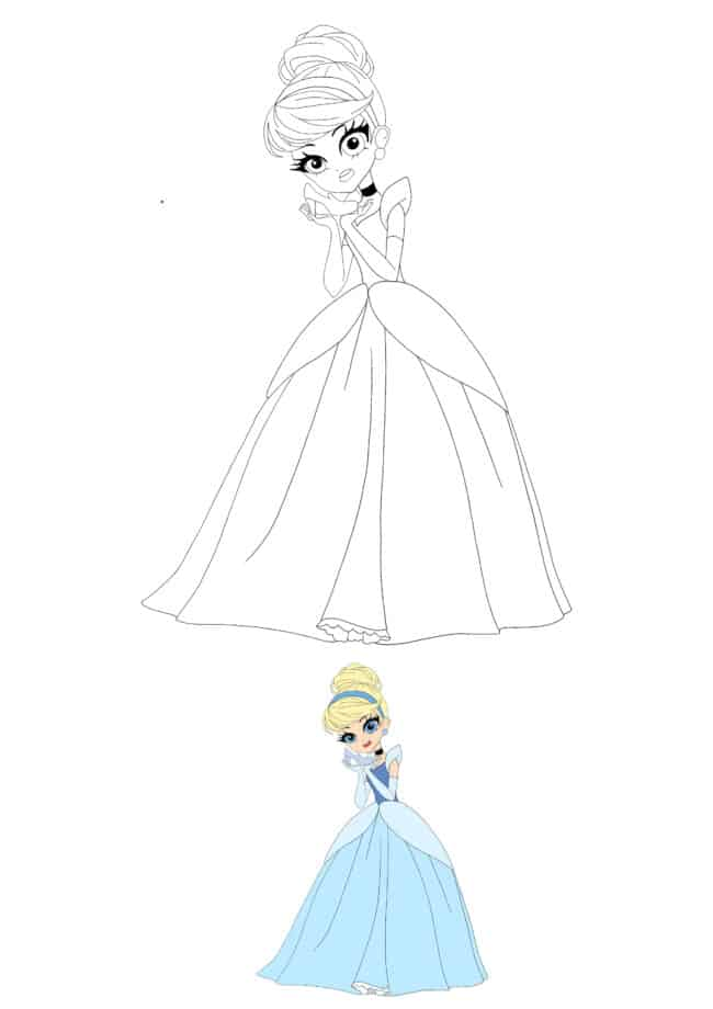 Anime Disney Princess Cinderella colouring page