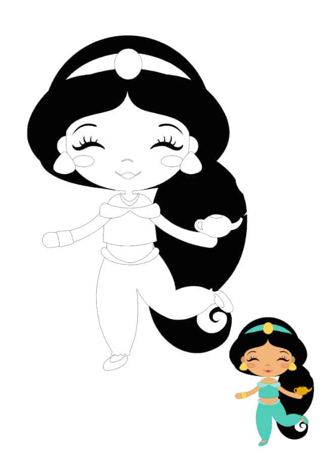 Baby Disney Princess Jasmine coloring page for kids
