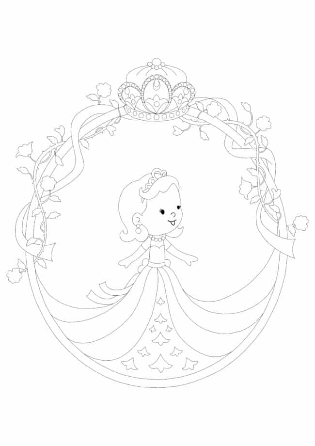 Baby Princess and Crown coloring page