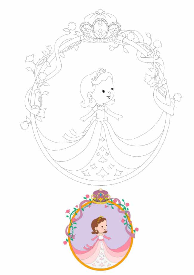 Baby Princess Crown coloring page for girls