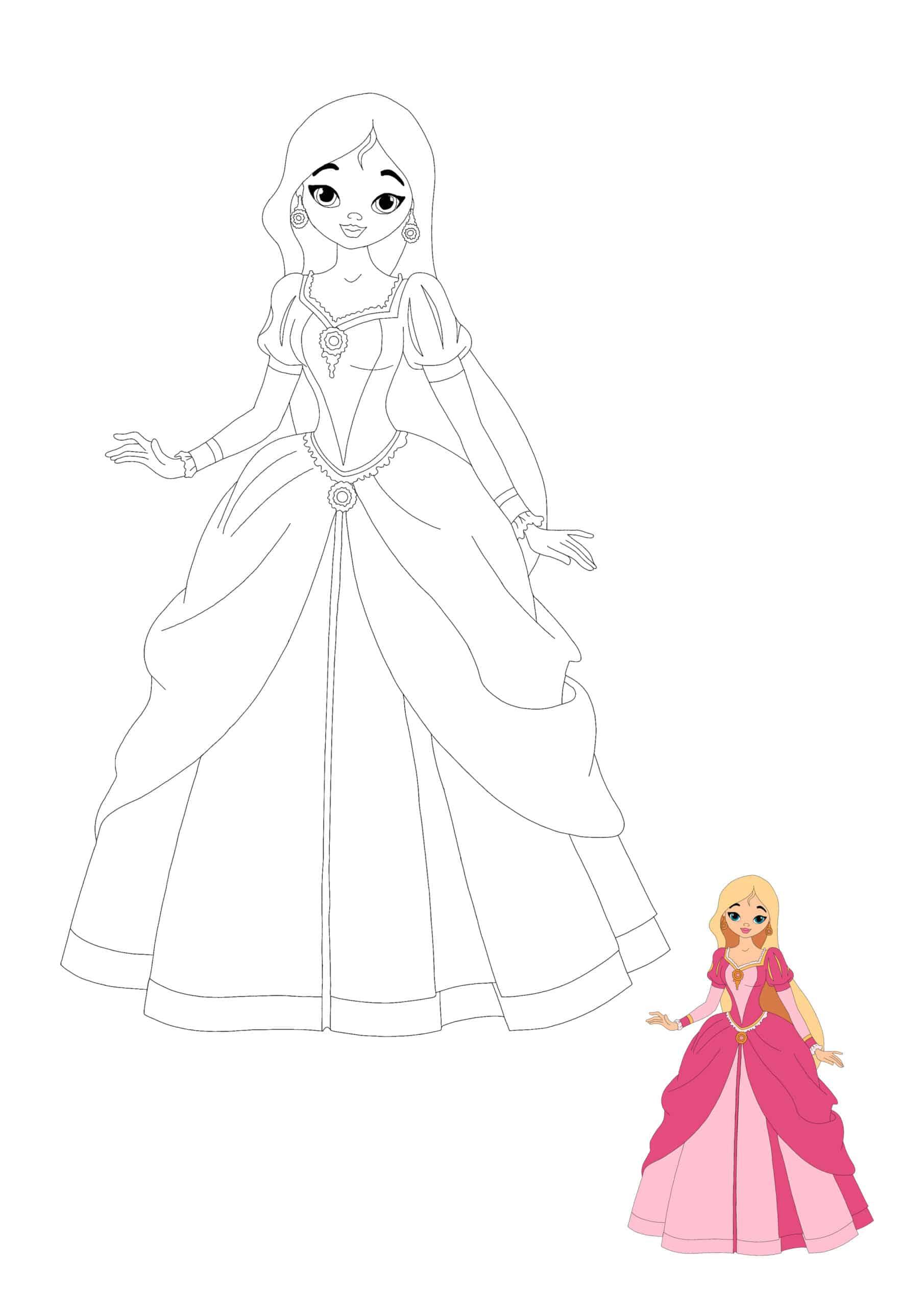 Cute Barbie Princess coloring page