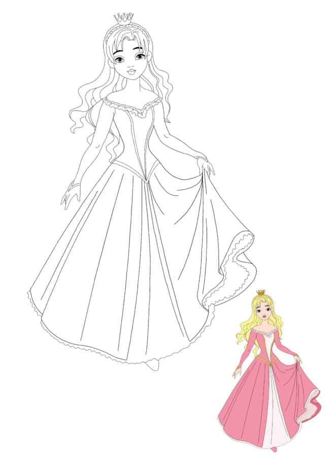 Beautiful Princess coloring sheet