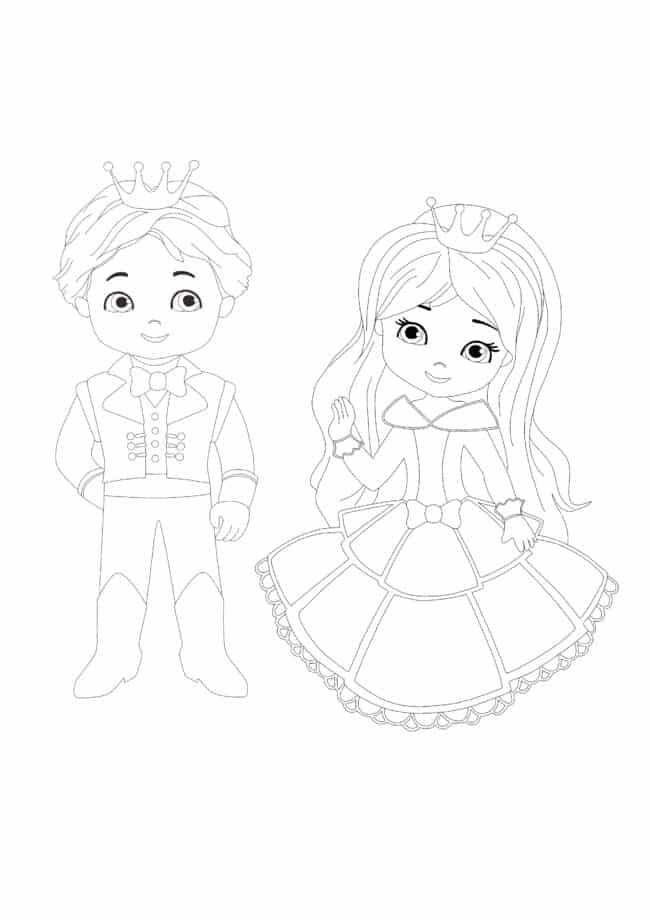 Cute Prince and Princess coloring page