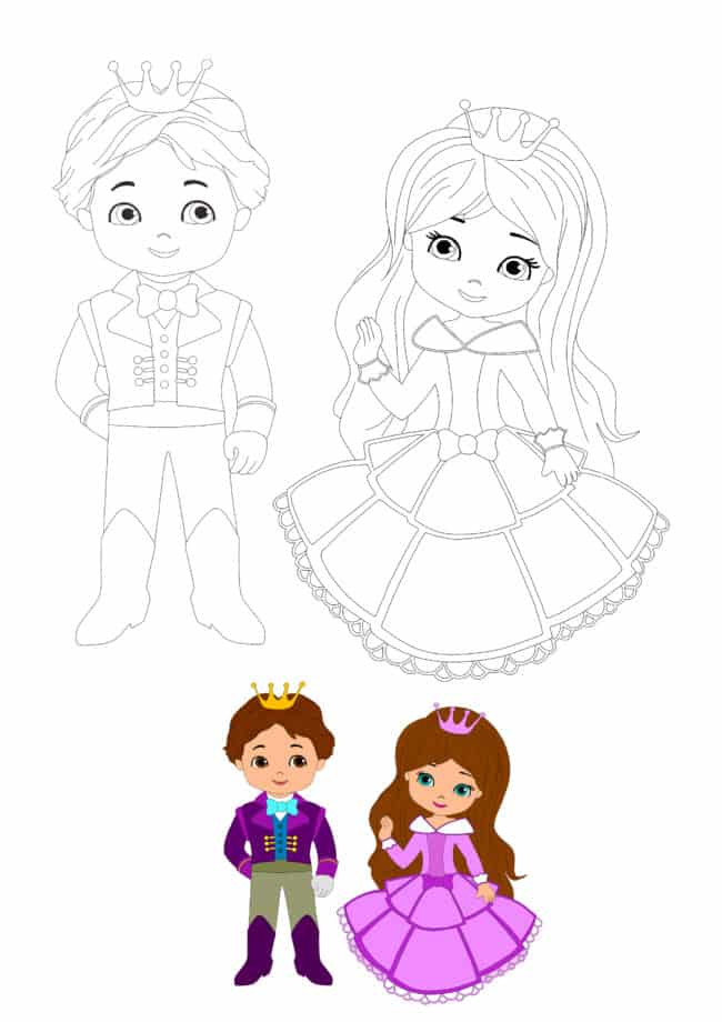 Cute Prince and Princess coloring page for kids