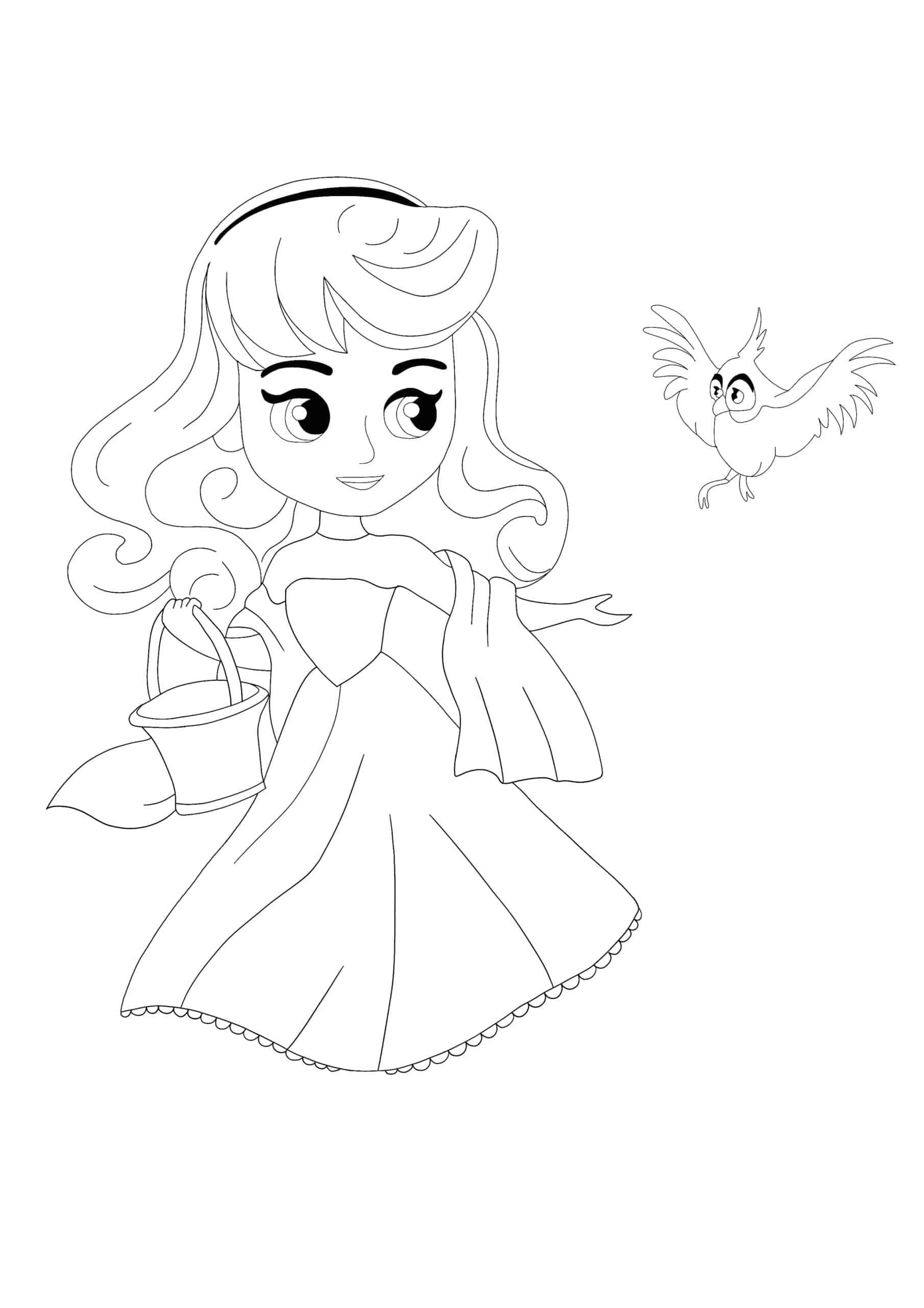 Disney Princess Aurora With Bird coloring page