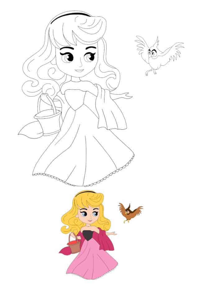 Cute Disney Princess Aurora With Bird coloring page for girls